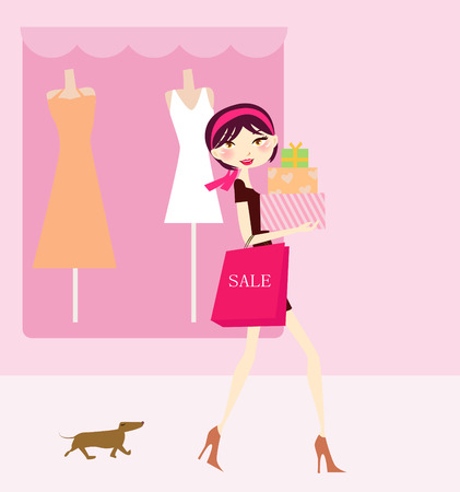 womanly: Illustration of a fashion girl  going to shopping Illustration
