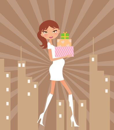 retail scenes: Illustration of a fashion girl  going to shopping Illustration