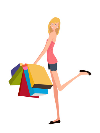 illustration of a beauty shopping girl with shopping bag Stock Vector - 6656438
