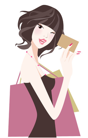 pretty dress: illustrazione di una bellezza dello shopping ragazza con lo shopping card