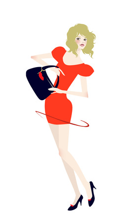 illustration of a beauty shopping girl with bag Stock Vector - 6789754