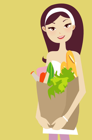 Illustration of a pretty girl with supermarket bag Vector