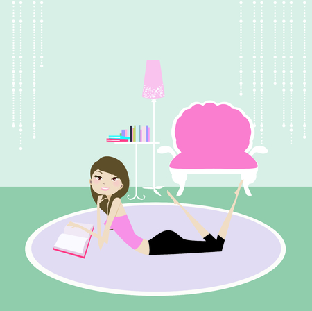 bedrooms: Illustration of a pretty girl relaxing at home Illustration