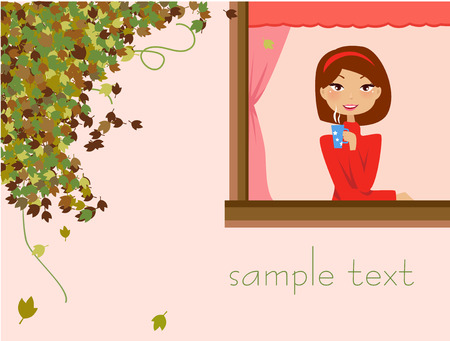 Illustration of a pretty girl relaxing at home 일러스트