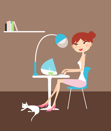 computer chair: Illustration of a pretty girl working at home Illustration