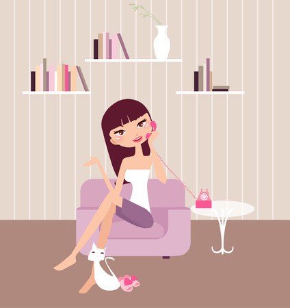Illustration of a pretty girl relaxing at home Stock Vector - 6789759
