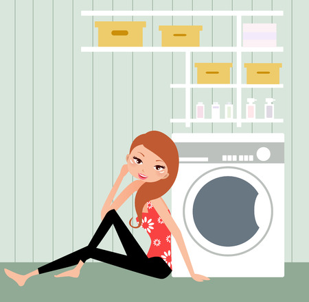 illustration of a pretty housewife at home