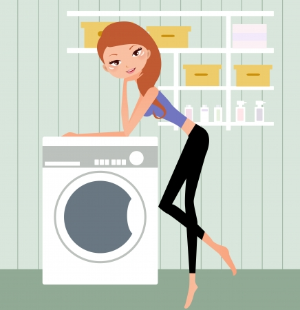 illustration of a pretty housewife at home Vector