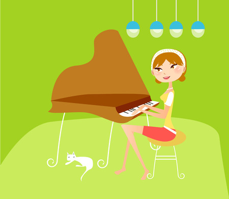 tocando el piano: Illustation de una chica bonita tocando el piano