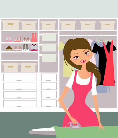 illustration of a pretty housewife ironing clothes  Vector