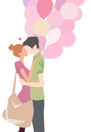 teenagers love: illustration of a boy and a girl fall in love Illustration