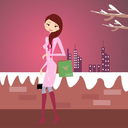 Christmas shopping-a pretty girl  with shopping bag Vector