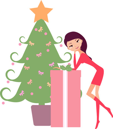 christmas room: Christmas shopping-a pretty girl and gift box