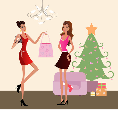 Christmas shopping-a pretty girl  with shopping bag Stock Vector - 6655799