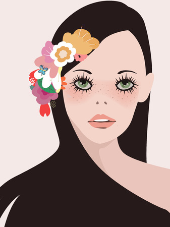 looking straight: illustration of a beautiful girl with flower
