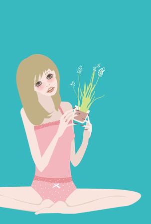 illustation: Illustation of a pretty girl with plants,yoga
