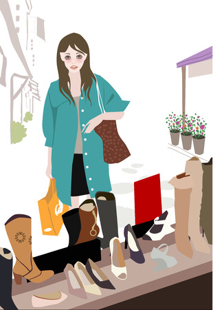 Illustation of a pretty girl and shoe shop Vector