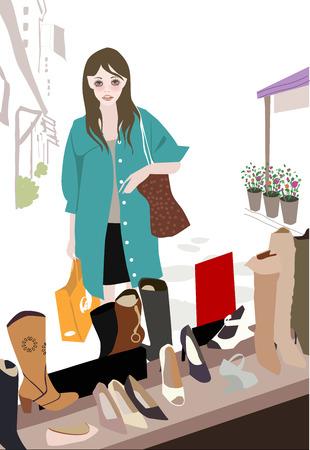 illustation: Illustation of a pretty girl and shoe shop