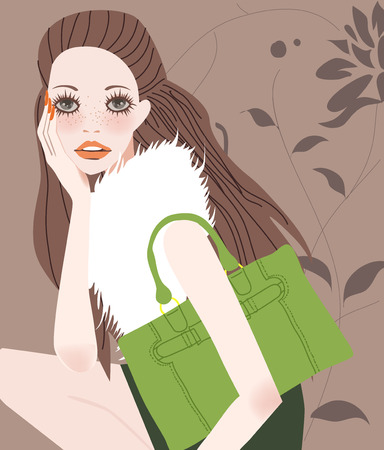 retro model: illustration of a beautiful shopping girl with bag