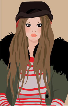 long straight hair: illustration of a beautiful and fashion girl