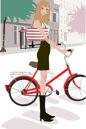 illustration of a beautiful shopping girl with bag Vector
