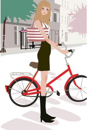 compras chica: Ilustraci�n de una hermosa chica compras con bolsa