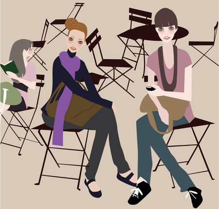 patisserie: iIllustration of three fashion girls relaxing on cafe