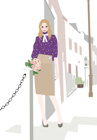 illustation: Illustation of a pretty girl with a bouquet of roses Illustration