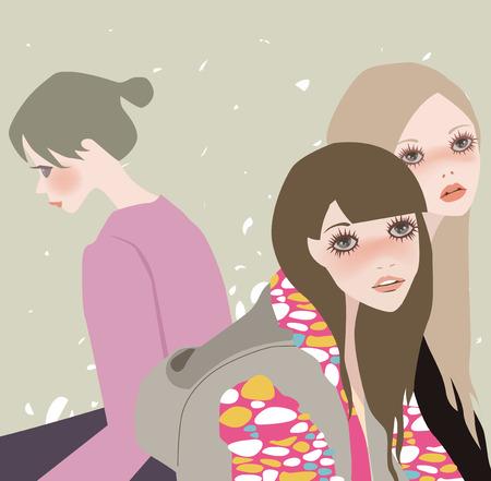 fashion story: iIllustration of three fashion girls relaxing sitting Illustration