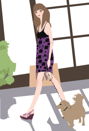 Illustation of a pretty girl and dog  Vector