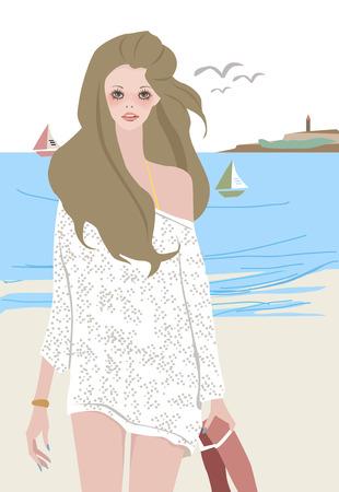 scarf beach: Ilustraci�n de una chica bonita en la playa  Vectores