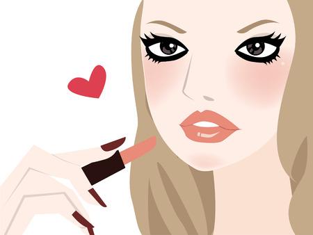 mujer maquillandose: una ilustraci�n de una mujer bonita aplicaci�n de maquillaje.