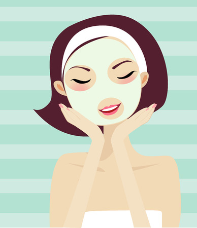 A facial massage in a beauty center  Vector