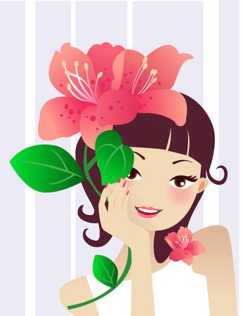 아름다움 여자와 꽃의 그림