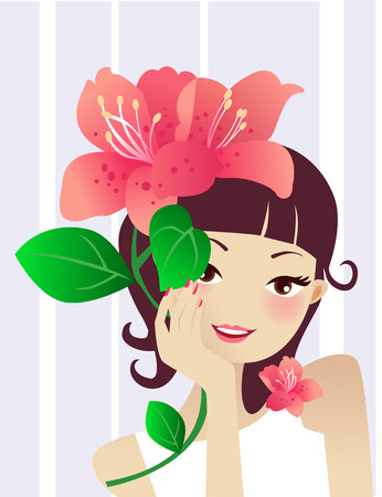 Illustration of a beauty girl and flower