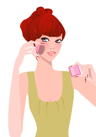 make up applying: Illustation of a pretty girl applying make up Illustration