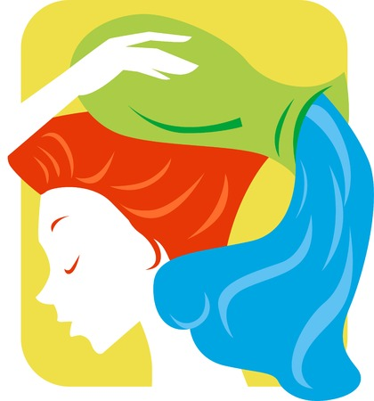 Illustration of a woman and aquarius