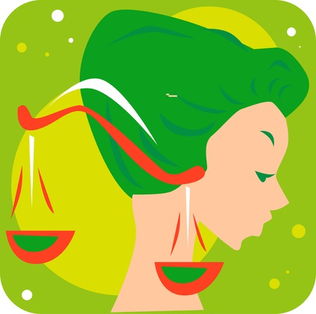 Illustration of a woman and libra  Vector