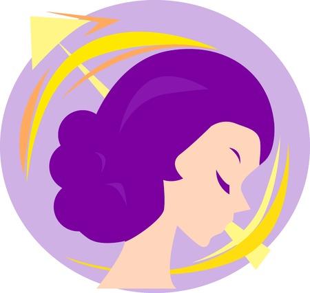 sagitario: Ilustraci�n de una mujer y sagittarius