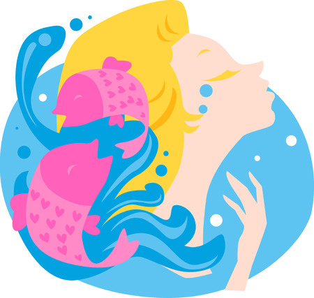pisces star: Illustration of a woman and pisces