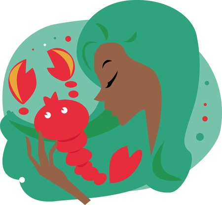 scorpion: Illustration of a woman and scorpio