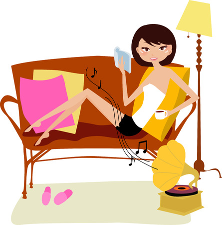 Relaxing day at home reading book-illustration art Stock Vector - 7986103