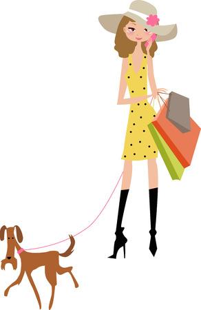 ragazza al telefono: Illustrazione di una signora carino lo shopping con il cane  Vettoriali