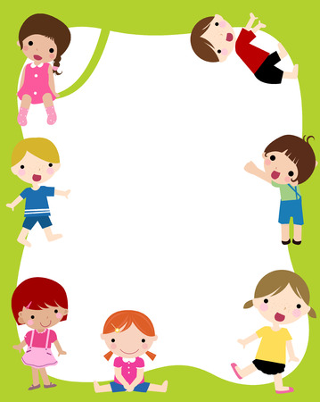 joy of life: Illustration of group of children and frame