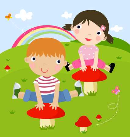 chinese american: Illustration of cute boy and girl jumping,illustration art Illustration