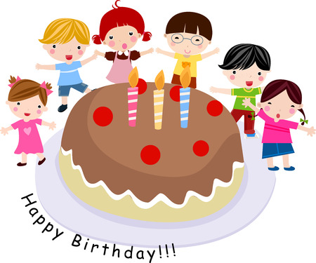 children celebration: Children with a big cake. illustration.  Illustration