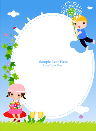 Decorative frame with boy and girl,illustration art 일러스트