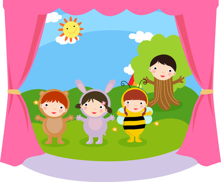 performing arts event: four children are performing,illustration art