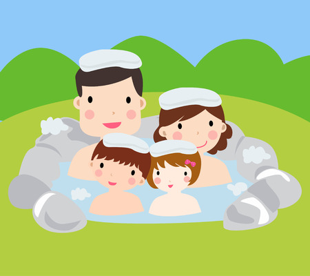 steam bath: cute family with two children and spa,illustration art Illustration
