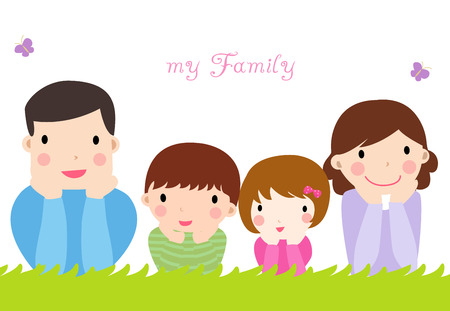 two generation family: cute family with two children,illustration art